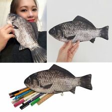 Make Up Pouch Bag Silver Carp Fish Zipper Change Purse Pencil Case Pen Cases New