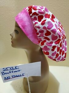 Hearts Pink/Red Varigated Women's Bouffant Surgical Scrub Hat/Cap Handmade