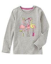 NWT Gymboree 5 Gray Winter Flamingo Scarf Hat Earmuffs Sparkle Shirt Long Sleeve