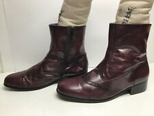 VTG MENS BOTANY 500 WING TIP CASUAL BURGUNDY BOOTS SIZE 12 W