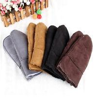 New Fashion Women's Real Sheepskin Mittens Gloves Fur Trim Leather Winter Lovely