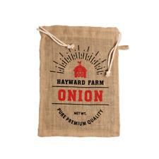 Jute Hayward Farm Zwiebel Tasche traditionell Gemüse Sack Kordelzug Lager Linien