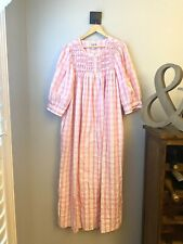 Vtg Saybury Zipper Robe Smocked Pink Stripe Pastel Large House Dress Seersucker
