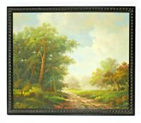 Country Road Forest Landscape  20 x 24 Art Oil Painting on Canvas w/ Wood Frame
