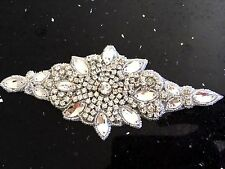 Iron On Hotfix Rhinestone Applique Bridal Wedding SashTrim Band Crystal Motif 10