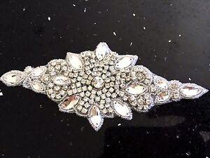 Iron On Hotfix Rhinestone Applique Bridal Wedding SashTrim Band Crystal Motif 10