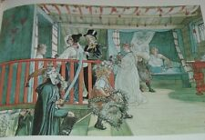 """Carl Larsson Print """"1890s 'NAME DAY AT THE STORAGE SHED' Watercolor"""""""