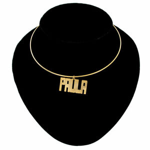Paula Name Jewelry Choker Gold Tone Bangle Wire Necklace Vintage 15 1/2""