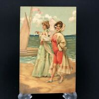 C. 1900s Antique Bathing Beauty Postcard Beach Woman Vtg Pre Flapper Sailboat