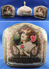 Vintage Frimousse d'or Lorenzy Palanca Paris Powder Box Boudoir Swans Down Puff