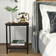 Large Square Side Table Coffee End Living Room Rustic Wood Effect Metal Bedside