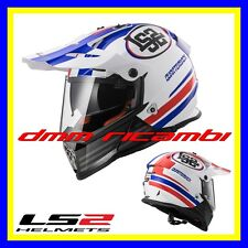 Casco LS2 MX436 PIONEER QUARTERBACK Blu Rosso Tg.XL Cross Enduro Motard Quad HRC