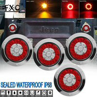 "4"" Red Yellow 16LED Round Stop/Turn/Tail/Brake Truck Light w/ Stainless Ring 4pc"
