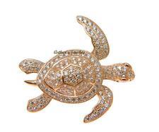 chapado en oro rosa plata de ley 925 HAWÁI Sea Turtle PENDIENTE CIRCONITA CÚBICA
