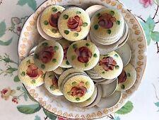 18mm Vintage Guilloche Cabochons, Enamel Cabochons, Silver Cabochons, Rose #G17B
