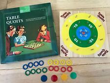 Retro Board Game TABLE QUOITS Wooden Puzzle Family Ring Peg Toss Traditional
