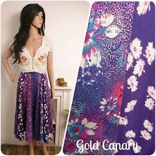 Vintage Purple Full Circle Floral Ditsy Daisy Patchwork Skirt Boho 10 38