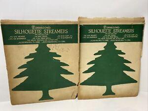 Vtg Dennison's Silhouette Streamers No. 8 Christmas Tree Set of 2  RARE