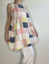 New listing Vtg 70s Tunic Top Smock A Like Volup Mini Dress Patchwork Pool Coverup