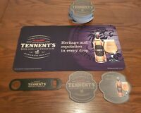 TENNENTS SCOTTISH BEER DRIP MAT, BOTTLE OPENER AND BEER MATS NEW