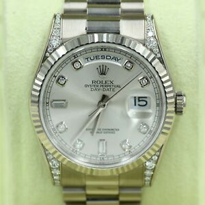 Rolex Oyster Perpetual Day-Date President 36mm 18K Diamond Dial Lug Watch 118339