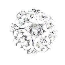 2 x Silver Alloy Rhinestone Flower Sewing Buttons Costume Dress Decor Craft DIY
