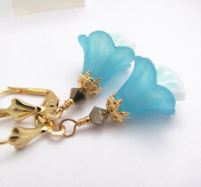 GODDESS LILY AQUA BLUE Frosted Lucite flower earrings Czech Glass GOLD PLATED