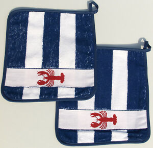 2x Potholder Maritime Hummer Terry Kitchen Cloth Kracht Deco Food Blue White