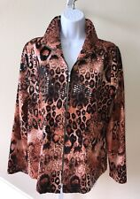 EXCLUSIVELY MISOOK Zip Front Jacket Leopard Shimmer Paillettes Size Small Travel
