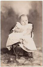 SHEFFIELD - by Furness -  Baby In Wicker Chair - c1900s era Real Photo postcard
