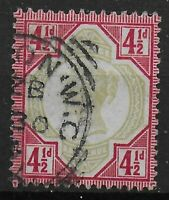 SG206. Jubilee 4&1/2d. Green & Carmine. Very Fine Used. Cat.£45  Ref.0977