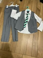 Next Boys 2 Piece Grey Suit Trousers Shirt Tie Waistcost Age 4 5 & 6 Years