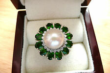 QUALITY GREEN CHROME DIOPSIDE & WHITE FRESHWATER PEARL 925 SILVER RING SIZE L 6