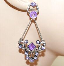ORECCHINI argento strass lilla glicine lavanda donna pendenti etnici regalo CC18