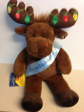 "Build a Bear Hal Light on Antlers Work Just fine Banner Blue ""Happy Holidays"""