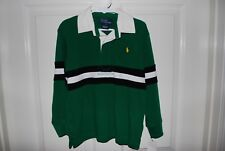 NWT Ralph Lauren Boys Rugby Stripe Green Long Sleeve Polo Shirt Thick Size 4