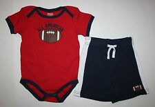 New Gymboree Football Bodysuit Top & Shorts Set Outfit Set 18-24m NWT Summer boy