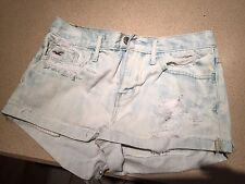 Hollister Rolled Women's Denim Light Blue Destroyed Jean Shorts Size 1 W 25