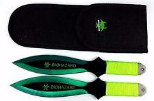 "2pc green/Black 9"" Zombie Biohazard Throwing Knife set with Sheath Dagger Kunai"