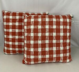 """Gingham Throw Pillow Coral Ivory 24""""x24"""" Set Of 2 Orange Threshold Indoor New"""