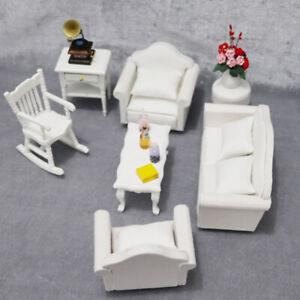Am _ 1/12 Puppenhaus Sofa Sessel Kissen Miniatur Wohnzimmer Möbel Zubehör