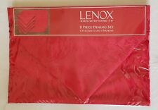 Lenox Red Holly Damask Placemats and Napkins 8 Piece Set Christmas Holiday