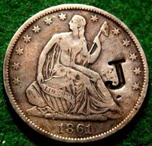 1861 O SILVER SEATED LIBERTY HALF DOLLAR COUNTERSTAMPED 'J' CIVIL WAR ERA NOLA !