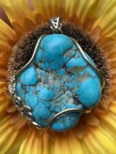 Vintage Native 925 Marked Black Spiderweb Turquoise Pendant 28.6 G In Weight Wow