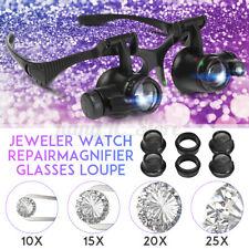 Magnifier Loupe Eye Glasses Binocular Lens Magnify LED Light Repair Tool 10X-25X
