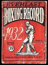 1932 EVERLAST BOXING RECORD 336 Pages Photos Cartoons Statistics Articles