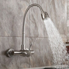 Stainless Steel Kitchen Mixer Tap with Dual Function Sprayer Wall Mount Faucet