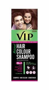 VIP  5 in 1 Hair Colour Shampoo base Hair Color Shampoo, Brown 180ml Brown