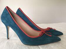 69737228fae New J.Crew size 8.5 F4868 Elsie Suede Pumps trim Indian Blue Heel shoes  JCREW