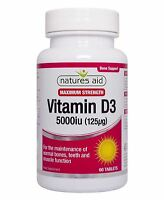 Natures Aid Vitamin D3 5000iu High Strength 60 Tablets - 3 Pack